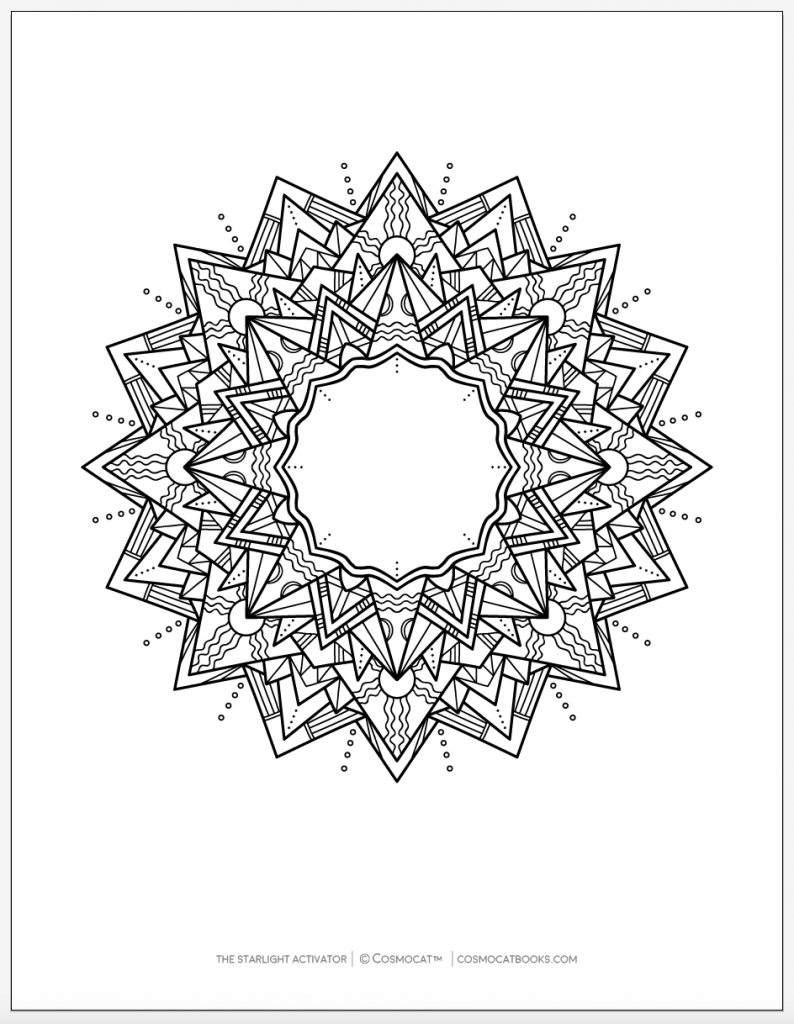 free printable coloring pages positive power starlight activator mandala motivational quotes